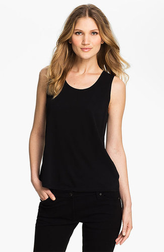 Eileen Fisher Scoop Neck Silk Tank Black Medium