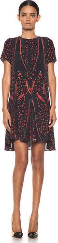Proenza Schouler Short Sleeve Printed Drop Waist Dress in Red Bug