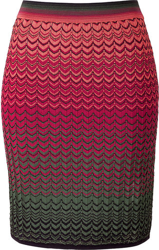 M Missoni Viscose-Wool Blend Patterned Skirt