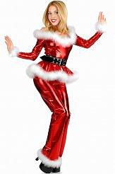 4PC Fluffy Santa Girl Costume in Red
