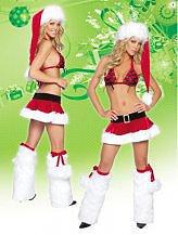 4 Piece Christmas Santa Stripper Skirt Set