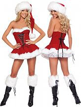 3 Piece Red Velvet Christmas Corset Set