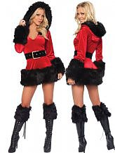3 Piece Hooded Fur Trim Velvet Santa Costume $29.25