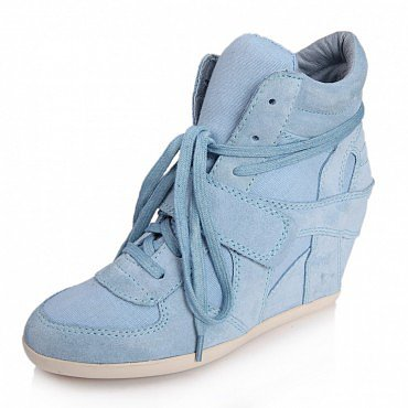 ASH BOWIE SUEDE WEDGE SNEAKERS BLUE