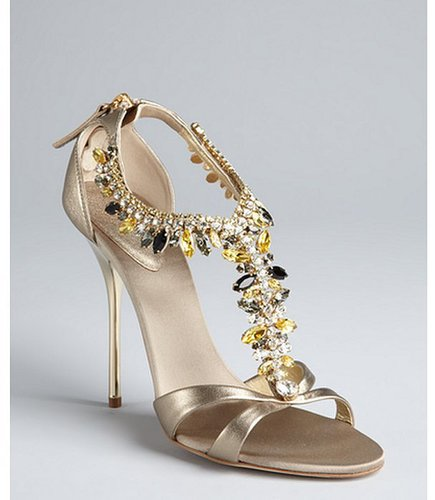 Giuseppe Zanotti gold leather 'Alien 115' embellished sandals