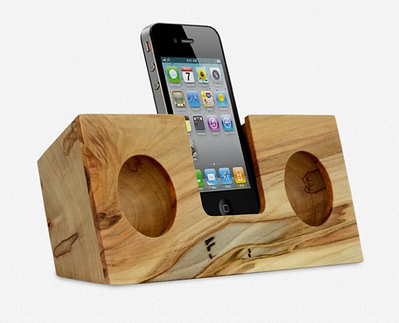 Behold, this gorgeous iPhone dock ($95), a completely wooden accessory that acoustically amplifies the volume of your music two to four times. It's perfect for your works