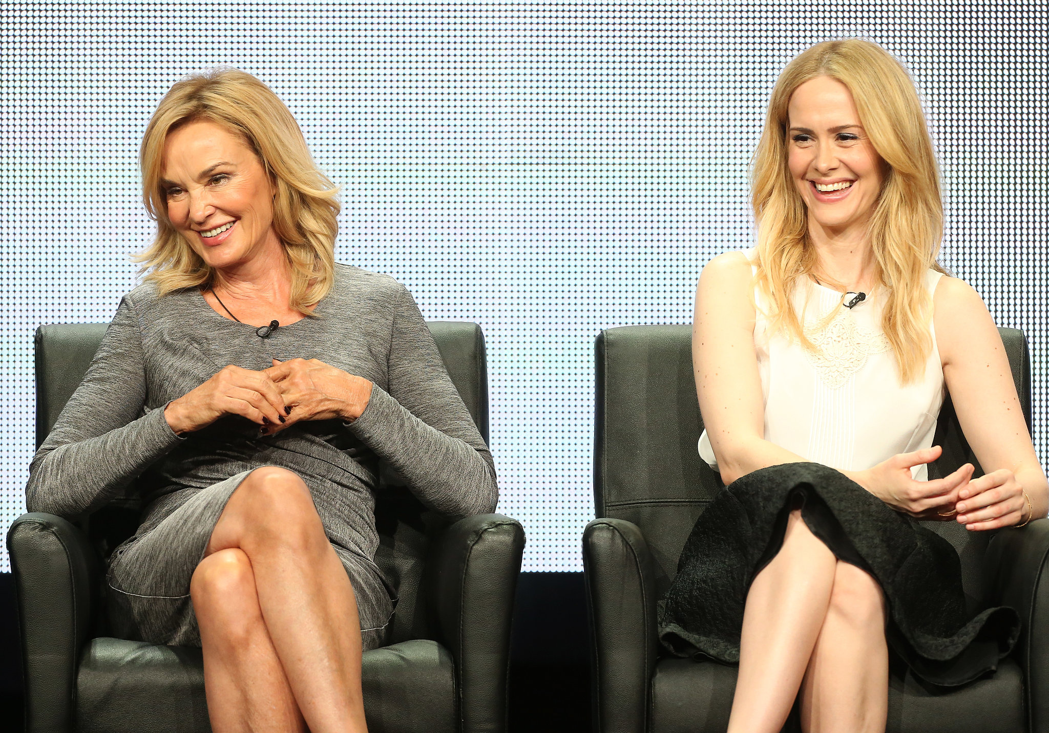 Sarah Paulson and Jessica Lange laughed onstage while talking about American Horror Story: Coven