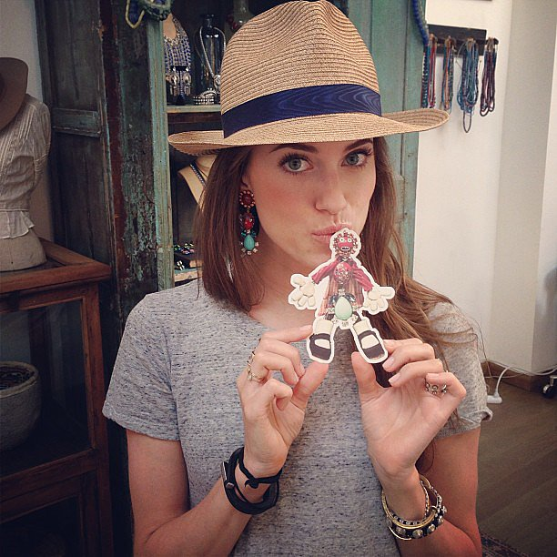 "Allison Williams hung out at the Dannijo store and posed with their mascot, ""Eddie the Earring."" Source: Instagram user dannijo"