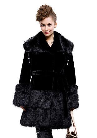 cheap top quality black faux mink fur faux beaver fur long coat|free shipping