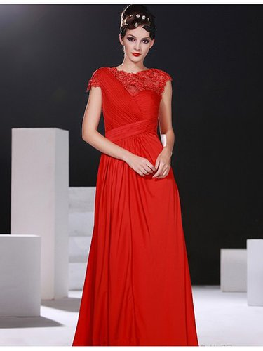 Red Lace Capsleeve A-line Chiffon Prom Evening Dress PD1006