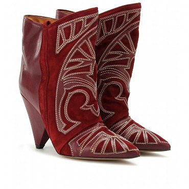 ISABEL MARANT PURPLE BERRY ANKLE BOOTS WITH CUTOUT APPLIQUÉ