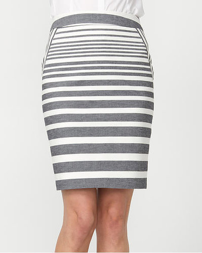 Le Château Double Weave Stripe Pencil Skirt