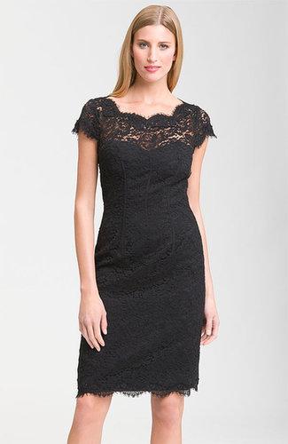 ML Monique Lhuillier Lace Overlay Sheath Dress