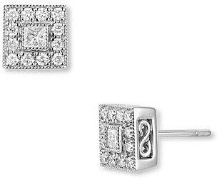 Charriol 'Flamme Blanche' Diamond Stud Earrings White Gold Square