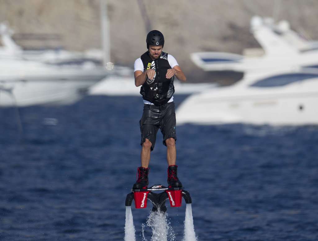 Leonardo DiCaprio spent Tuesday riding a Flyboard in Spain.