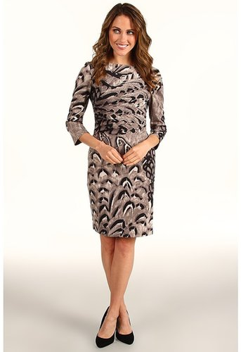 Jessica Simpson - Starburst Pleat Long Sleeve Dress (Grey) - Apparel