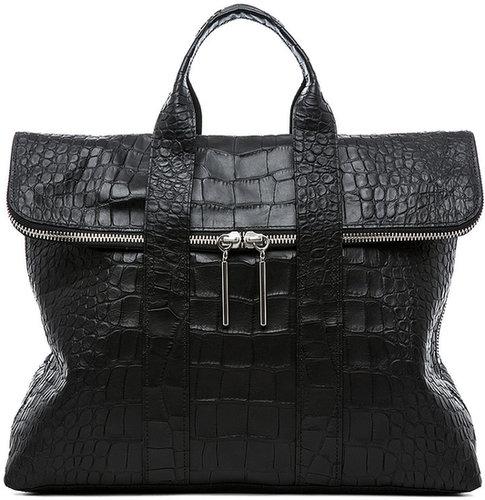 3.1 phillip lim Matte Crocodile Embossed 31 Hour Bag in Black