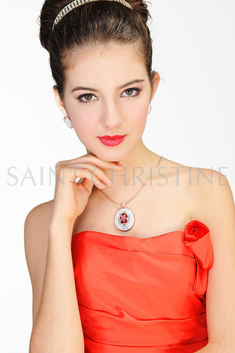 Handmade Flower Pattern Drop Red Crystal Necklace & Earrings Set Golden Chain at Saintchristine.com