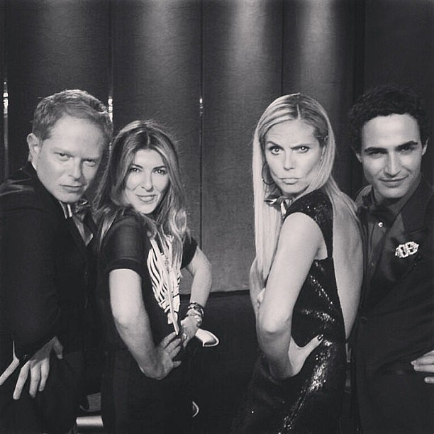 Jesse Tyler Ferguson struck his best model pose alongside Nina Garcia, Heidi Klum, and Zac Posen on the set of Project Runway. Source: Instagram user jessetyler