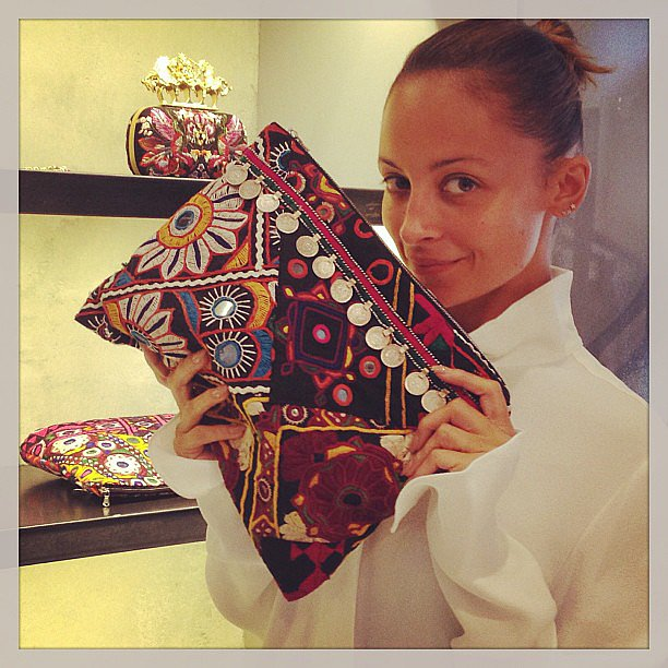 Nicole Richie spied her friend Simone Harouche's printed clutch during a shopping trip in LA. Source: Instagram user nicolerichie