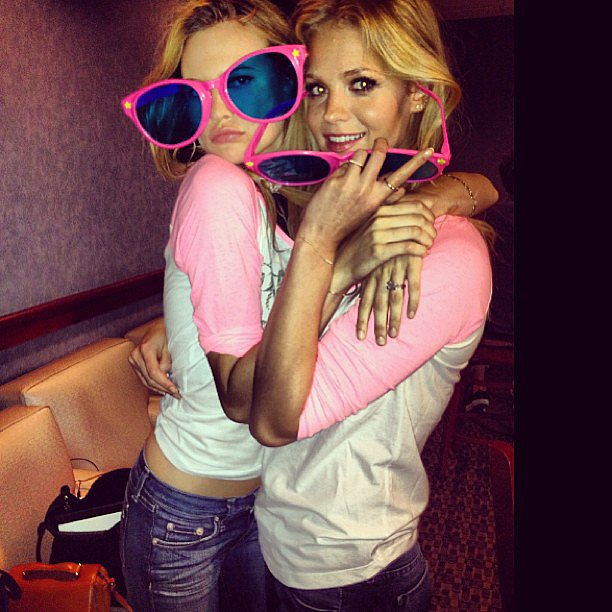 Behati Prinsloo and Erin Heatherton palled around during a night of bowling. Source: Instagram user behatiiprinsloo