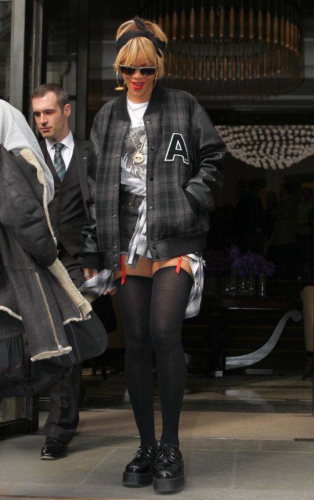 Rihanna kick-started the varsity-jacket trend with this prep-school-gone-punk combo she wore in February 2012.