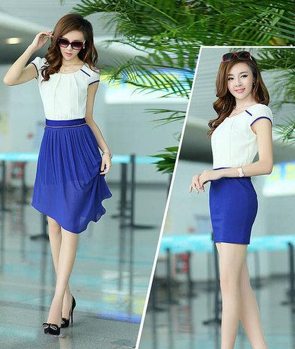 Royalblue slim hip sexy color block two ways irregular one-piece bodycon chiffon dress skirt
