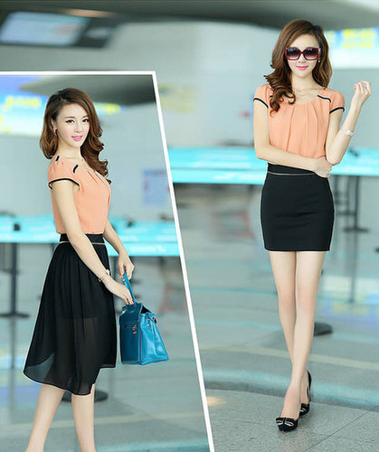 Pink slim hip sexy color block two ways irregular one-piece bodycon chiffon dress skirt