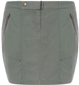 Khaki zip pocket cargo skirt