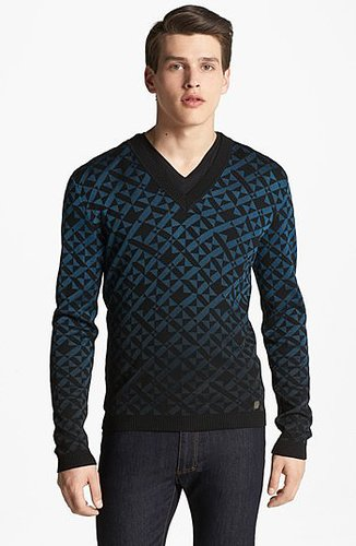 Versace Geometric Print V-Neck Sweater Black/ Blue X-Large