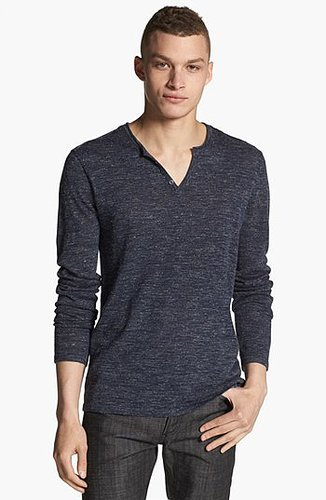 John Varvatos Star USA Henley Sweater Marine Blue Large