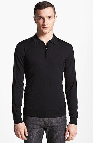 Salvatore Ferragamo Half Zip Polo Sweater Black XX-Large