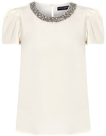 Ivory sculpted embellished top