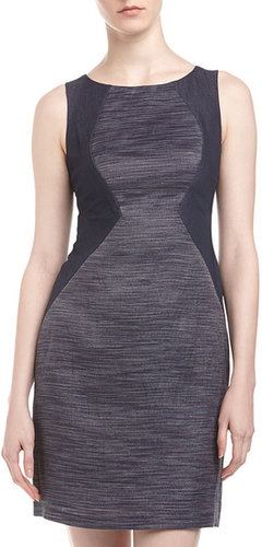 Donna Morgan Denim & Jacquard Colorblock Dress