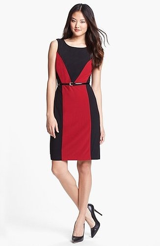Ellen Tracy Colorblock Crepe Sheath Dress