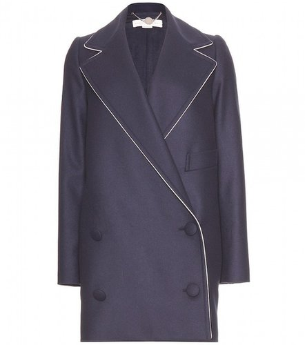Stella McCartney DOUBLE-BREASTED WOOL COAT WITH CONTRAST PIPING