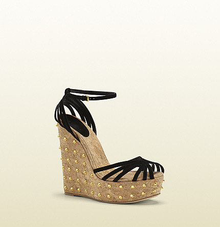 Cecyl Black Suede Studded Wedge