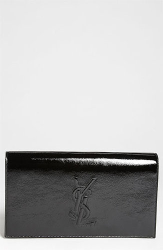 Saint Laurent 'Belle de Jour' Patent Leather Clutch Black
