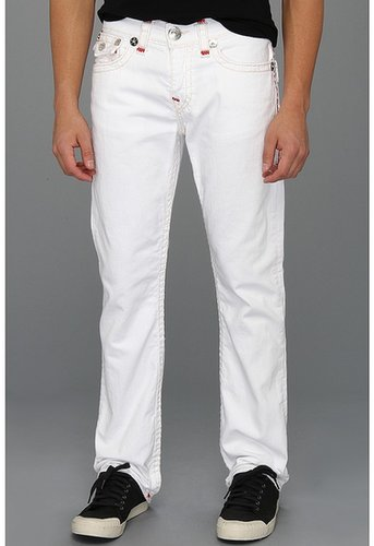 True Religion - Ricky Straight Contrast Red Super T in Optic White (Optic White) - Apparel