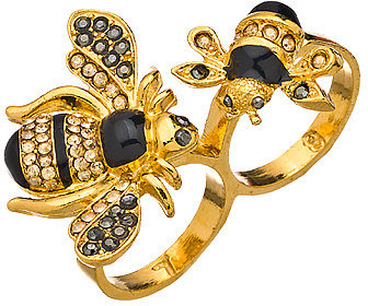 Shameless Jewelry Gold Enamel Bumblebee Double Ring