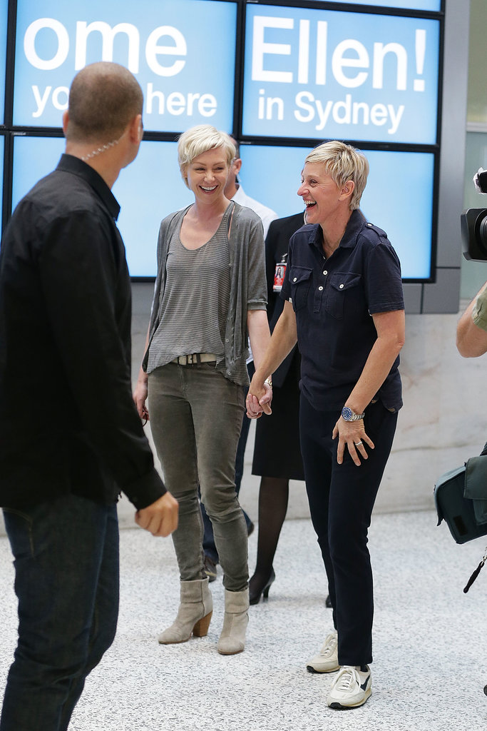 The couple cracked up at the Sydney Airport in March 2013.
