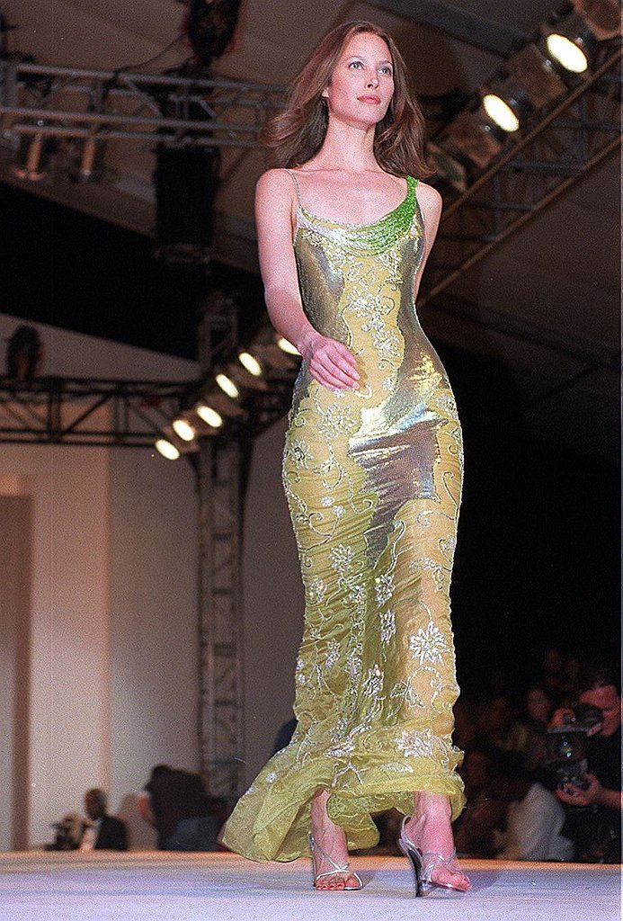 Christy Turlington Burns walked for a good cause at a charity show in 1998 that supported the Nelson Mandela Children's Fund.