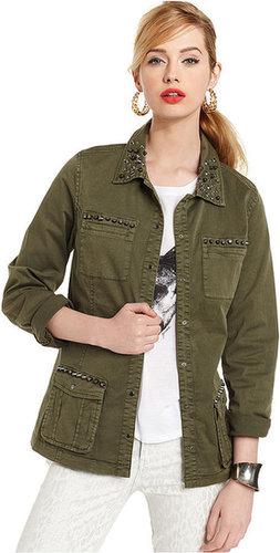 GUESS Jacket, Long-Sleeve Studded Rhinestone Military