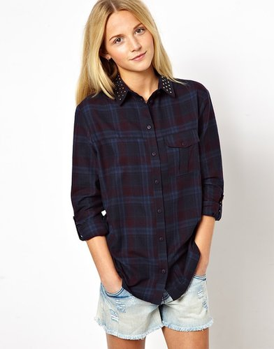 ASOS Shirt with Stud Detail in Check Print