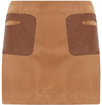 Beige faux leather patch skirt