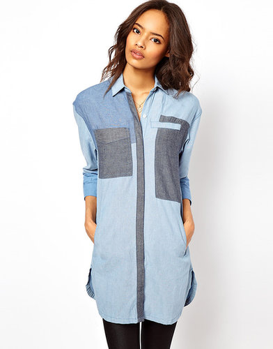 ASOS Premium - Chemise en jean longue style color block