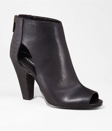 Open Toe Side Cut-Out Heeled Bootie