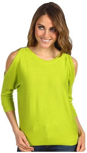 MICHAEL Michael Kors Petite - Cold Shoulder Sweater (Fresh Lime) - Apparel