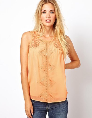 Vila Smock Top With Embroidered Deatil