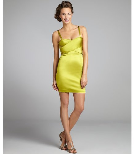 Vera Wang Lavender Label lime stretch satin overlay bodice sheath dress